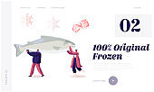 Healthy Refrigerated Food Website Landing Page. Characters Carry Huge Frozen Fish with Snow Flakes and Ice Cubes around. People Choose Iced Production Web Page Banner. Cartoon Flat Vector Illustration