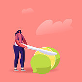 Tiny Female Character Cutting Huge Lime with Knife Ingredient for Mojito or Tequila Alcohol Drink. Woman Slicing Fresh Citrus Fruit, Vitamin Food, Raw Fooder Nutrition. Cartoon Vector Illustration