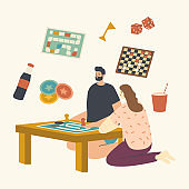 Young Male and Female Characters Sitting at Table Playing Board Game. Couple Spare Time Recreation, Weekend Activity