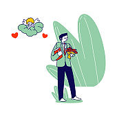 Groom Character in Festive Costume Holding Bouquet of Beautiful Flowers Waiting Bride for Wedding Ceremony. Cupid Watching from Cloud. Marriage Contract Love Human Relation. Linear Vector Illustration