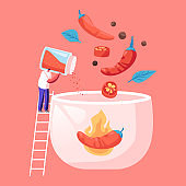 Hot Spicy Food Concept. Tiny Male Character Stand on Ladder Cooking Delicious Hot Meal with Red Chili Pepper and Peppercorns Ingredients, Typical Mexican Spicy Dish. Cartoon Flat Vector Illustration