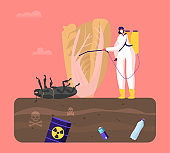 Female Character in Protective Suit and Mask Spray Insecticide on Huge Green Plant with Dead Bug Lying on Poisonous Land. Vegetable Grow in Garden with Polluted Toxic Soil. Cartoon Vector Illustration