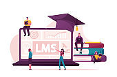 Lms, Learning Management System Concept. Tiny Male and Female Characters around of Huge Laptop with Graphs and Graduation Cap, Piles of Textbooks, Students Studying. Cartoon Vector People Illustration