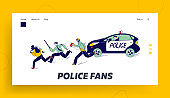 Policemen Pursuit Robber on Duty Landing Page Template. Police Officer Characters at Catching Up Thieves in Mask to Arrest. Patrol Constables Fight with Criminals. Linear People Vector Illustration