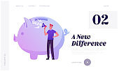 Shopping Promotion, Announcement, Advertising and Loyalty Program Website Landing Page. Man Crying to Loudspeaker near Huge Piggy Bank. Sale in Store Web Page Banner. Cartoon Flat Vector Illustration
