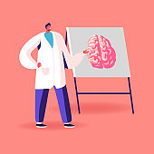 Doctor Character in White Medical Robe Pointing on Signboard with Human Brain Explain its Opportunities, Alzheimer and Dementia Disease Symptoms, Mental Sickness, Hypnosis. Cartoon Vector Illustration