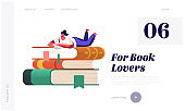 Young Woman Student or Bookworm Spend Time in Library Landing Page Template. Tiny Female Character Enthusiastically Reading Lying on Huge Book Pile Prepare for Examination. Cartoon Vector Illustration