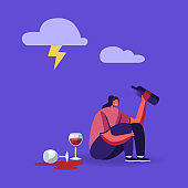 Drunk Woman Bipolar Disorder, Alcohol Addiction. Female Character Sitting on Floor in Depressed Mood with Wine Bottle in Hand Suffering, Crying Feel Lonely, Alcoholism. Cartoon Vector Illustration
