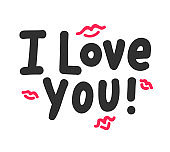 I Love You Inspirational Lettering with Red Doodle Lips on White Background. Typography Slogan for T-Shirt Print, Design Element for Valentines Day Card. Black Hand Drawn Letters. Vector Illustration