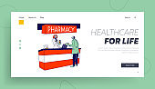 Coronavirus Pandemic Landing Page Template. Male Character in Protective Medical Mask Visiting Pharmacy for Buying Medication, Antibacterial Remedy Paying on Cashier. Linear People Vector Illustration