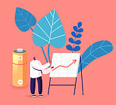 Man Performing Growing Arrow Chart with Statistics Information of Using and Recycling Batteries and E-waste. Data Graph Garbage Segregation and Reduce Earth Pollution Cartoon Flat Vector Illustration