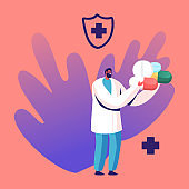 Tiny Doctor Male Character Holding Heap of Huge Medicine Pills. Illness Prevention, Vein Thrombosis Disease Treatment and Pandemic Spreading Concept. Man Medic with Drugs. Cartoon Vector Illustration