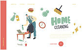 Cleaning Service Worker Duties Landing Page Template. Man Janitor in Uniform Collect Garbage to Sack Cleaning Home with Tools and Equipment. Male Character Household Chores. Linear Vector Illustration