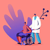 Doctor Character Pushing Wheelchair with Sick Woman Having Vein Thrombosis Disease or Paralyzed Feet. Disability, Varicose Problem, Recovery after Surgery Concept. Cartoon People Vector Illustration