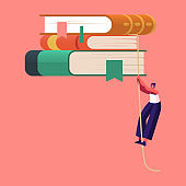 Tiny Female Character Climbing by Rope on Bookshelf with Huge Books. Education, Preparation to Exams and Reading Hobby. Girl Student in Library, Archive with Bookcase. Cartoon Vector Illustration