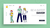 Healthy Habit and Lifestyle Website Landing Page. Happy Family of Mother, Father and Boy Holding Glasses, Parents and Kid Drinking Fresh Water at Home Web Page Banner. Cartoon Flat Vector Illustration