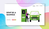 Eco Transport Electricity Power Landing Page Template. Refilling Station Worker Character Put Charger Plug to Car Socket