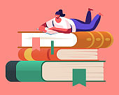 Tiny Female Character Enthusiastically Reading Lying on Huge Book Pile. Young Woman Student or Bookworm Spend Time in Library or Prepare for Examination Gaining Knowledge. Cartoon Vector Illustration