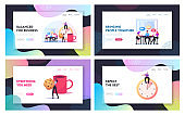 Friends Characters Meet Up in Cafe or Bar Landing Page Template Set. People on Coffee Break in Modern Restaurant Chat