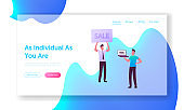Salesman and Owner on Car Market Landing Page Template. Dealer Character Holding Sale Banner, Customer Buying Automobile Online. Man Buy Auto in Salon, Purchase. Cartoon People Vector Illustration