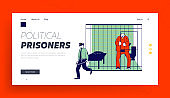 Prisoner in Prison Jail Website Landing Page. Policeman with Stick Passing by Arrested Man in Orange Jumpsuit Stand in Cell Behind of Metal Bars Web Page Banner. Cartoon Flat Vector Illustration