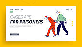 Cop Work in Prison Website Landing Page. Arrest of Criminal in Police Station, Policeman Wearing Uniform Lead Suspect Bandit in Handcuffs to Cell Web Page Banner. Cartoon Flat Vector Illustration