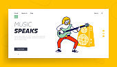 Girl Musician Practicing Playing Electric Guitar Website Landing Page. Lesson in Musical School or Soloist Music Concert Performance on Scene Cartoon Web Page Banner. Cartoon Flat Vector Illustration