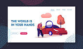 Transport Gasoline Service, Vehicle Purchase Website Landing Page. Man Looking on Car through Magnifying Glass, Consumer Choosing Auto for Buying Web Page Banner. Cartoon Flat Vector Illustration