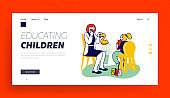 Logopedy Clinic Medical Help to Kids Website Landing Page. Doctor Logopedist Practicing with Girl Having Speech Pronunciation Problems Educating Baby Web Page Banner. Cartoon Flat Vector Illustration