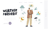 Character Watching Weather Forecast in Mobile App Landing Page Template. Man Using Smartphone Meteorological Application