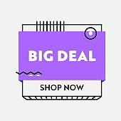 Big Deal Banner, Sale Advertising with Typography on White Background, Ad Card for Shopping Discount, Social Media Promo