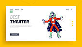 Kids Theater Performance or Talent Show Spectacle Website Landing Page. Schoolboy Actor in Superhero Costume and Cloak Playing Role Acting on Scene Web Page Banner. Cartoon Flat Vector Illustration