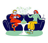 Aromatherapy Concept. Couple of Female Characters Using Aroma Oil Diffuser Lamp at Home for Wellbeing and Relaxation. Women Friends Chatting on Sofa, Aroma Therapy. Linear People Vector Illustration