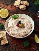 Taramasalata dip with pita bread and olives