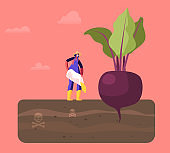 Female Farmer Character in Working Robe Pour Out Poisonous Fertilizer into Soil with Huge Beetroot Growing in Toxic Land. Farming Industry Agribusiness Ecology Pollution. Cartoon Vector Illustration