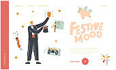 Animator Perform Circus Magic Show for Birthday Landing Page Template. Circus Magician Character Performing Tricks with Top Hat on Children Party. Carnival Amusement Event. Linear Vector Illustration
