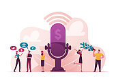 Group of People Stand near Huge Microphone with Dollar Sign Communicate and Discussing Financial Deals. Male and Female Characters Money Talks, Business Consulting, Advice. Cartoon Vector Illustration