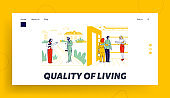Couple Visit House Tour Presentation Landing Page Template. Characters Choose House for Living Using Real Estate Broker Service. Woman Agent Showing to People Home Interior. Linear Vector Illustration