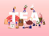 Tea Concept. People Growing, Care, Collecting Produce Sell and Drink Tea. Tiny Male and Female Characters Enjoying Drinking Hot Beverage Ceremony Poster Banner Flyer. Cartoon Vector Illustration