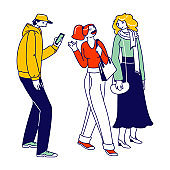Men and Women Characters Dressed in Trendy Clothes Standing in Line or Queue Waiting for Store Boutique or Showroom Opening. Stylish People with Gadgets Communicate. Linear Vector Illustration