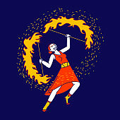 Young Woman Character Fire Show Performer Wearing Red Dress Spinning Burning Flame in Hands on Circus Arena or Theater Stage. Girl Artist Playing and Dance with Blaze. Linear Vector Illustration