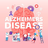 Alzheimer Disease Concept. Tiny Doctors Walking around of Huge Human Sick Brain, Purple Ribbon. Senior People Dementia and Memory Loss Poster Banner Flyer Brochure. Cartoon Flat Vector Illustration