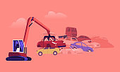 Character Working on Grabber Loading Old Junk Cars at Pile with Ruined Vehicles. Scrap Metal Utilization and Recycling