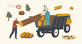 Woodcutter Male Characters Loading Wooden Logs in Truck. Deforestation, Forest Trees Cutting and Transportation, Logging