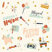 Set of Children Holiday, Birthday Party Icons Balloon, Festive Cake and Microphone for Karaoke, Slap Stick, Unicorn and Pinata with Tape Recorder. Clown, Wand and Fireworks. Linear Vector Illustration