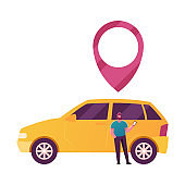 Male Character Use Car Sharing Service for Transportation in City. Man Stand at Auto with Gps Pin above Roof. Taxi, Automobile Rental and Share Mobile Online Application. Cartoon Vector Illustration