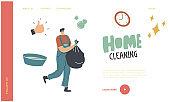 Cleaning Service Landing Page Template. Man at Household Activities. Male Character Cleaning Home Collecting and Throw Garbage into Plastic Sack. Housekeeping Management. Linear Vector Illustration