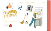 Professional Cleaning Company Working Process Landing Page Template. Woman Employee Cleaning Service, Female Character Washing and Wiping Mirror in Bathroom with Rag. Linear Vector Illustration