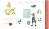 Cleaning Service Landing Page Template. Female Character Washing Window with Scraper. Professional Cleaning Company Worker with Equipment at Work. Housekeeping Occupation. Linear Vector Illustration