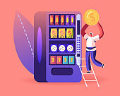 Vending Machine Food Concept. Man Put Coin for Buying Various Snacks, Drink Coffee, Crackers and Crisp from Automate Retail Technology for Selling Fastfood Production Cartoon Flat Vector Illustration